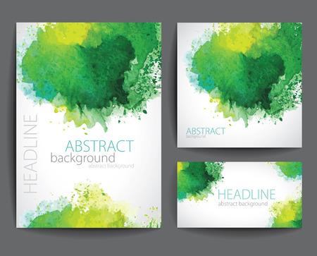 fondo verde abstracto: Conjunto de Vector Banners con verde de la acuarela Splash. Vectores