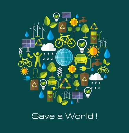 ecosistema: Medio ambiente y ecología banner con iconos planos. La tecnología y la naturaleza elementos de diseño. Vectores