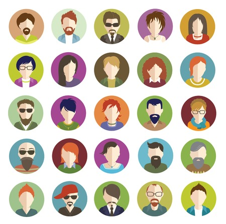 Set of people icons flat.