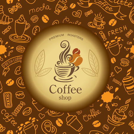 Coffee and tea doodles background. Coffee emblem.