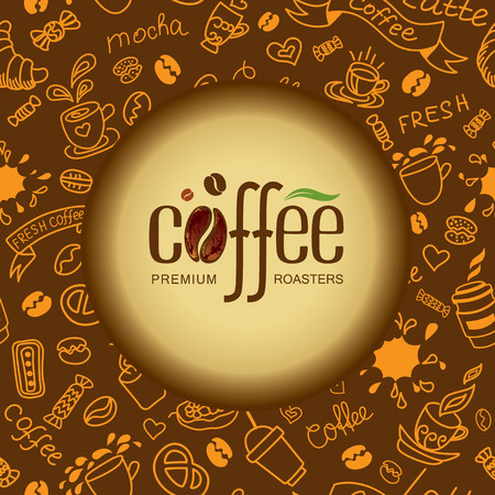 Coffee and tea background for packing. Bakery products texture. Vector