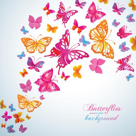 schmetterlinge blau wasserfarbe: Sommer-Hintergrund mit aquarell Schmetterlinge. Vector. Illustration