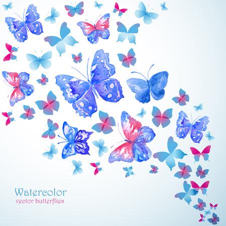 Blue watercolor butterflies. Summer banner.