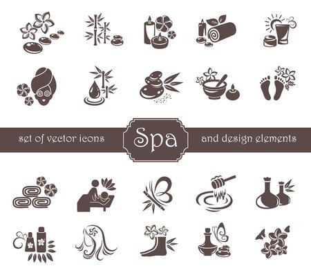 bambu: Conjunto de Spa, zen, Masajes, logotipo Estética y elementos de diseño. Vectores