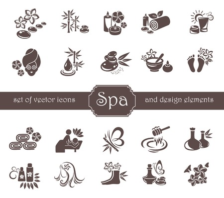 Set van Spa, Zen, Massage, Cosmetische logo en design elementen.