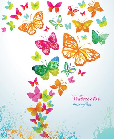 sommer: Aquarell Schmetterlinge und Spritzwasser. Vector Hintergrund.