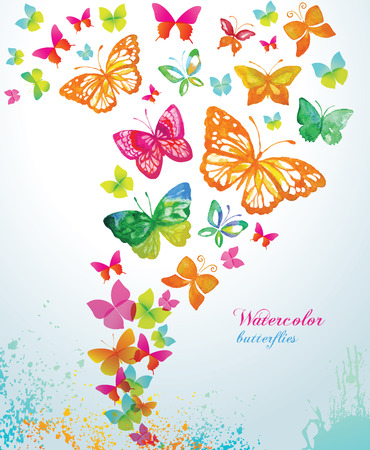 pink and green: Watercolor butterflies and splash. Vector background.