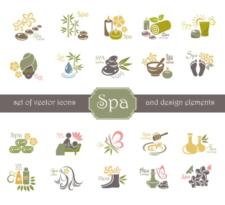 massage stones: Spa logo and design elements.