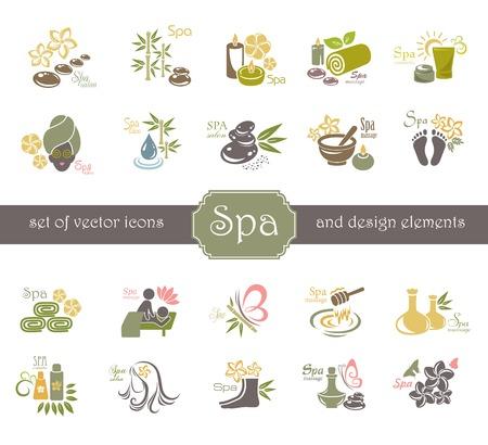 Spa logo ed elementi di design. Vettoriali