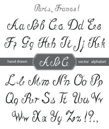 calligraphy alphabet: Vector Calligraphy Alphabet. Illustration