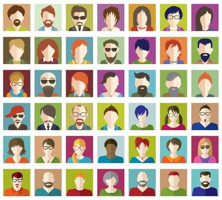 pessoas: Jogo de ícones dos povos lisos.