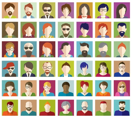 beard woman: Set of People Flat icons. Illustration