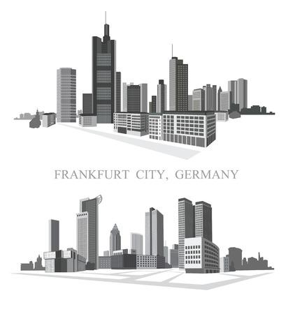 フランクフルト市。都市のパノラマ。ベクトルを設定します。