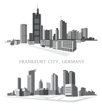 Frankfurt City. Urban panorama. Vector set. Illustration