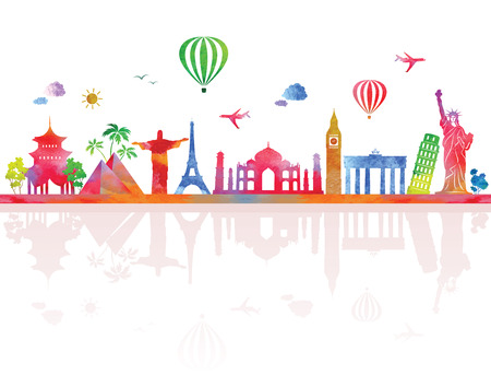 Travel background with watercolor effect.