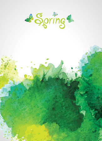 Abstract Green Watercolor Background for Spring. Illustration
