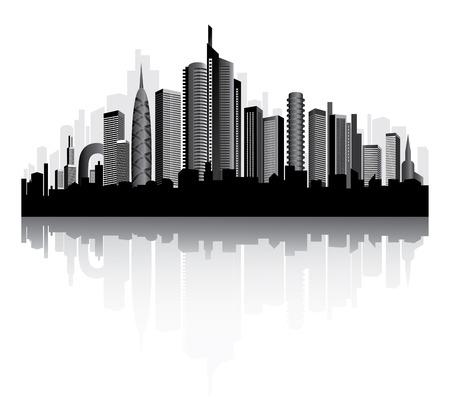 Urban vector architecture. Metropolis on the river. Illustration