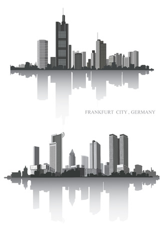 Frankfurt on the river. Urban panorama. Vector set.
