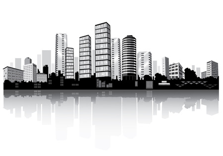 panorama: City panorama with reflection. Buildings silhouettes. Illustration