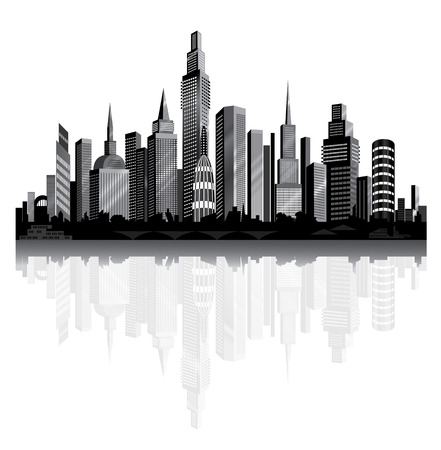 Metropolis on the river. Vector City Panorama.