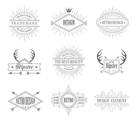 Set of Vintage Labels. Line Emblems Frames Badges for Business. Hipster Design Elements. Borders with Sunburst. Vector
