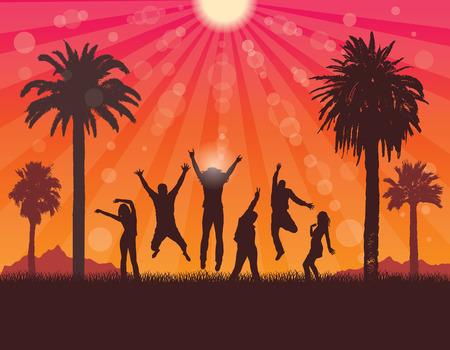 Sunset landscape vector: Thanh niên trên Holiday trong Tropic. Bữa tiệc mùa hè . Vector Du lịch và nền du lịch. Hình minh hoạ