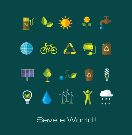 Set of Environment and ecology flat icons. Technology and nature design elements. Vettoriali