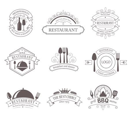 Set of Vintage Decorations Labels. Retro Style Design Frames for Restaurant Barbecue Food Drink.
