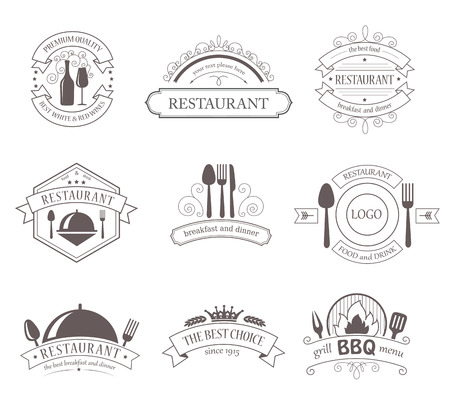 Set of Vintage Decorations Labels. Retro Style Design Frames for Restaurant Barbecue Food Drink. Vector