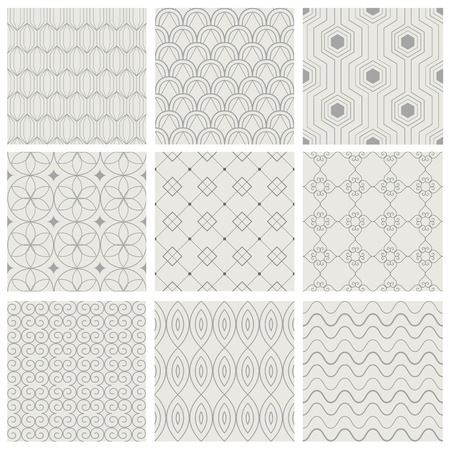 Set of vector seamless pattern. Simple geometric backgrounds. Modern texture. Illustration