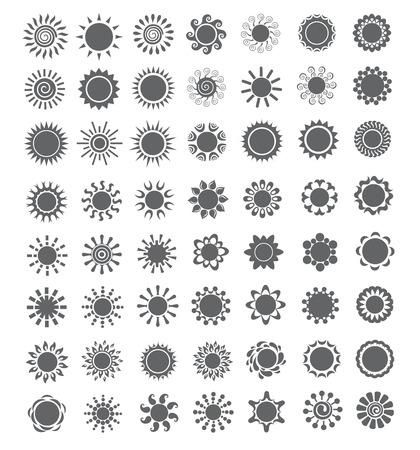 sun set: Set of decorative sun. design elements.