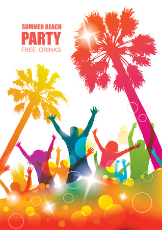 happy young people: Party background with happy young people. Colorful tropical banner. Illustration