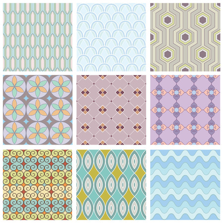 Set of geometric seamless pattern. Texture for fabric. Vector