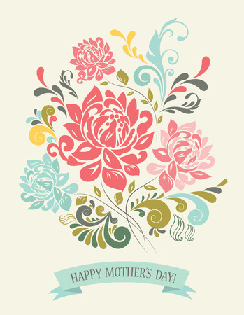 flora  vector: Vintage Greeting Card with Decorative Flowers. Illustration