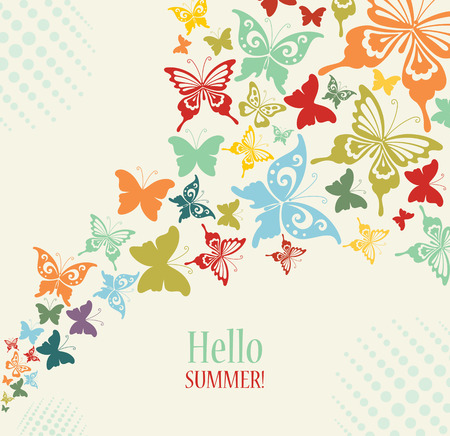 yellow butterflies: Decorative Vintage Background with Butterflies. Illustration