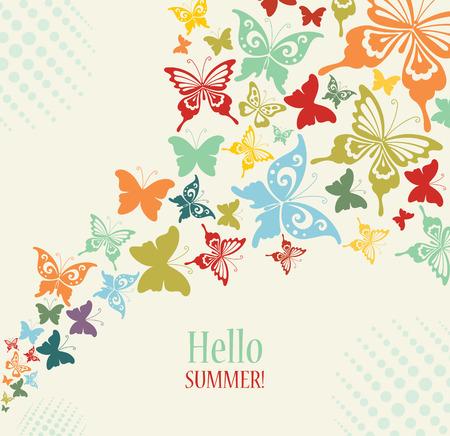 fondo de pantalla: Fondo De La Vendimia decorativa con las mariposas.