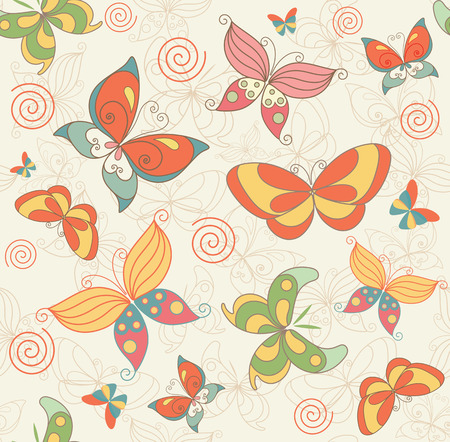Seamless Summer Background with Butterflies for Fabric Textile Wallpaper and Decoration. Vector