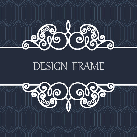 Decorative Line Label with Ornament. Vintage Frame for Wedding Invitation Monogram Vignette.