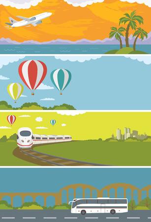 Set van kleurrijke reis banners met Flat Design. Vliegend vliegtuig Trein Bus Hot Air Balloon. Vervoer. Stock Illustratie