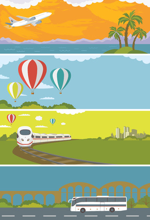 Set of Colorful Travel Banners with Flat Design. Flying airplane Train Bus Hot Air Balloon. Transportation.