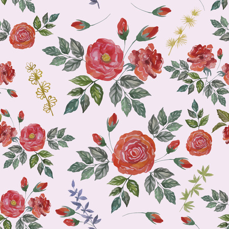 Seamless Watercolor Pattern with Red Roses. Vector Fabric Background. Vector