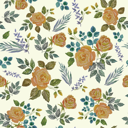 Seamless Vintage Watercolor Ornament with Yellow Roses. Vector