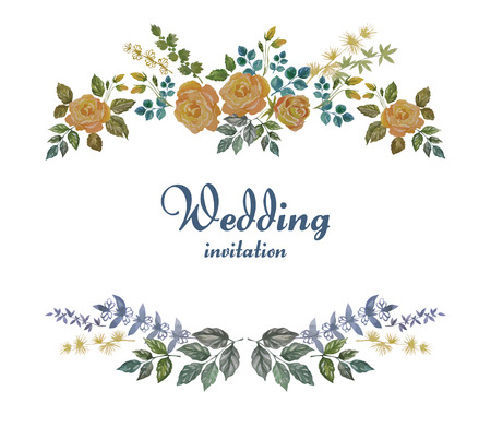 yellow vector: Watercolor Decorative Frame with Roses and Herbs for Wedding Illustration