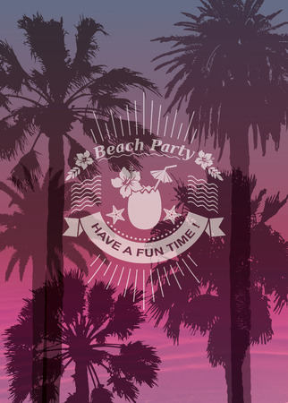 flora  vector: Exotic Palms Print with for T-shirt. Travel Background and label with Coconut cocktail. Vacation banner.