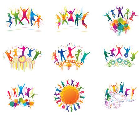 människor: Ungdomar på partiet. De dansande tonåringar. Illustration