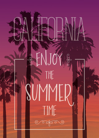palm tree vector: Exotic Palms Print with for T-shirt. Travel Background. Vacation banner.