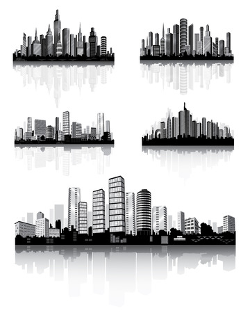 urbane: Modern City Panorama with skyscraper. Town Architecture. Vector set.