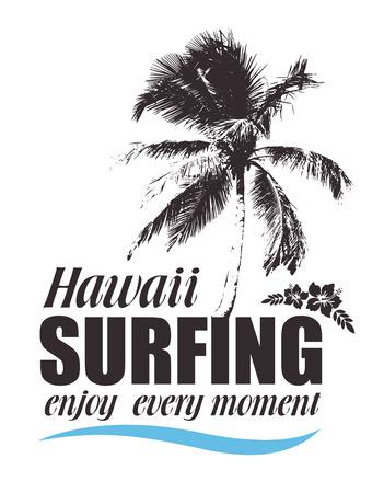 ibiscus: Stampa tropicale con palme e ibisco per la maglietta. Banner hawaiano per il surf. Sfondo di corsa di estate.