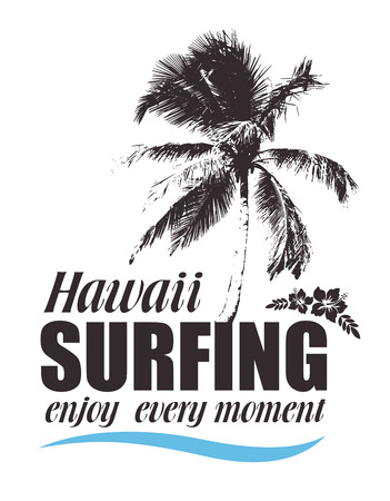 surfing: Tropical Print with Palm and Hibiscus for T-shirt. Hawaiian Banner for Surfing. Summer Travel Background. Illustration