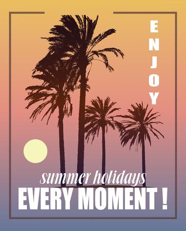 arbres silhouette: Contexte Voyage d'été. Exotic Nature Paysage avec palmiers. Imprimer T-shirt.